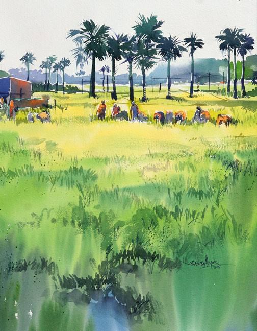 Artwork by Sadhu Aliyur art workshops in bangalore - IMG 0631 - Watercolor Workshop With Eminent Artist Shri. Sadhu Aliyur – Hues of Watercolor-2