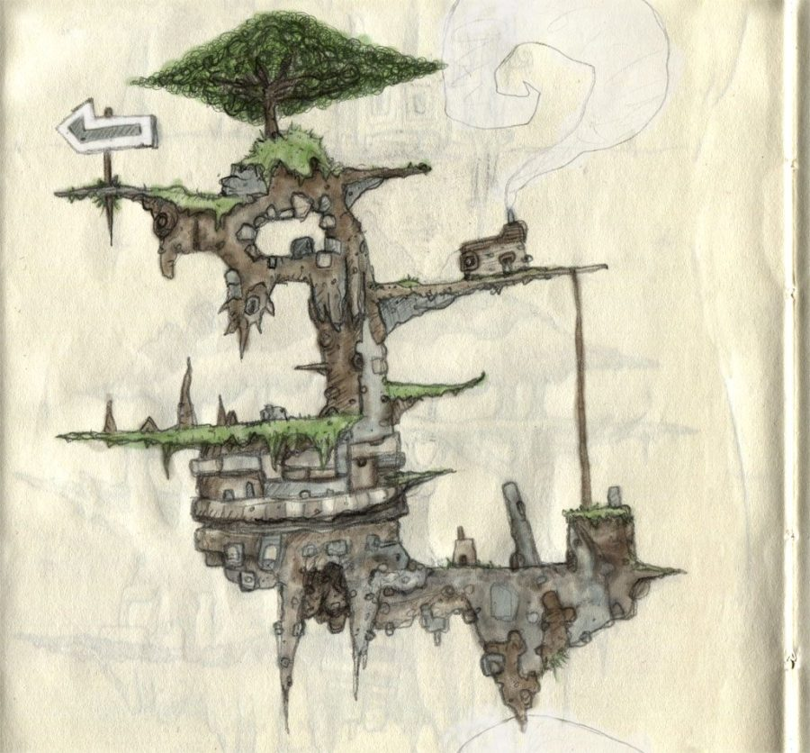Rough pencil sketch platform game level scanned from moleskin notepad.