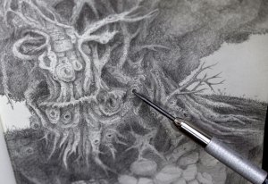 Tree creature green man pencil drawing in progress