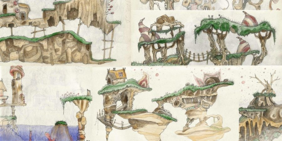 sketches and watercolour floating island platform game concept levels composite