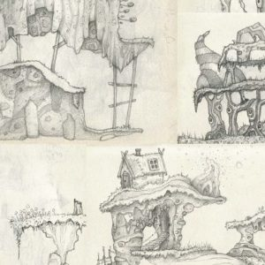 Cropped selection of environment concept art for 2D game platforms