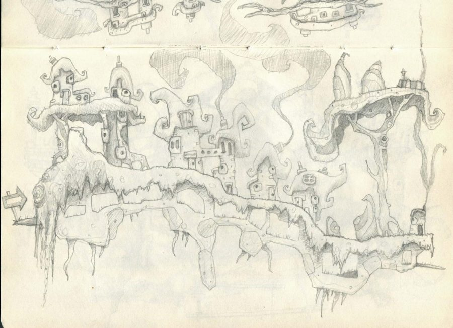 Curly house village smokey chimneys platform game design sketch
