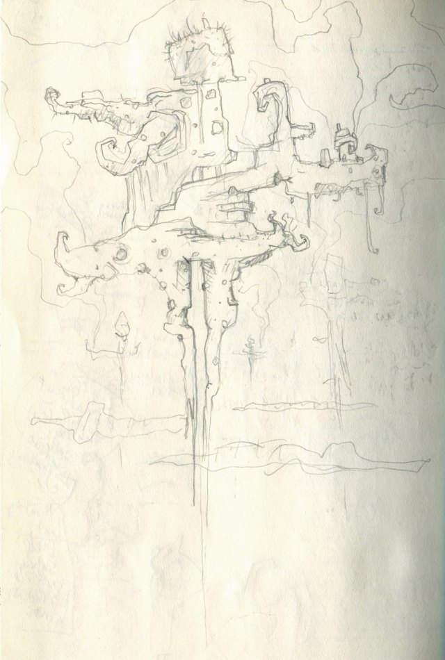 Floating island long roots grassy tops sketch