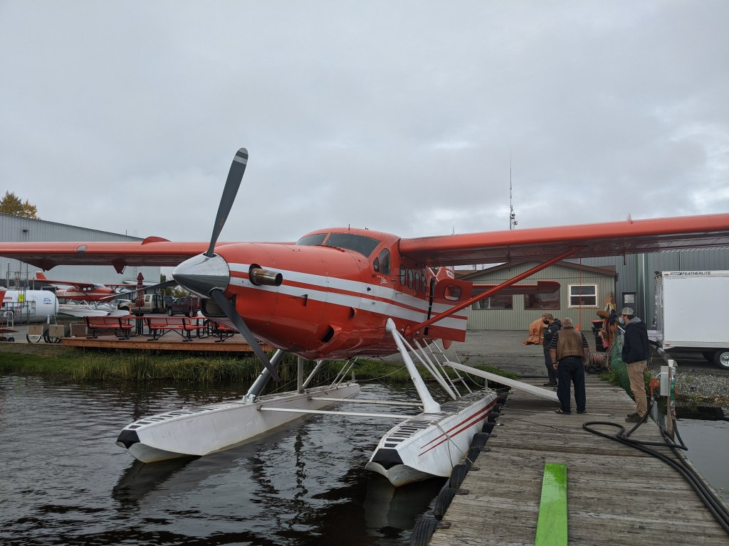 Boarding one of Rust's seaplanes for a flightseeing tour.