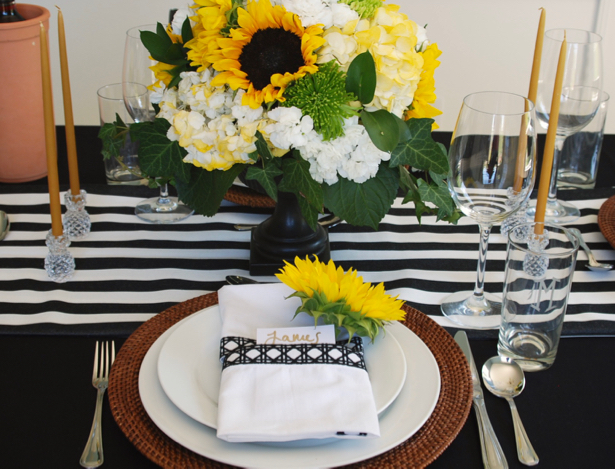 Black and White Themed Tablescape with Sunflowers