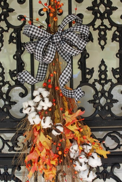 Fall Home Tour with Simply Seasonal - Cinnamon Broomstick idea for the front door.