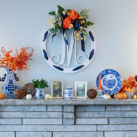 My Blue & White Fall Mantel + DIY Monogram Sign
