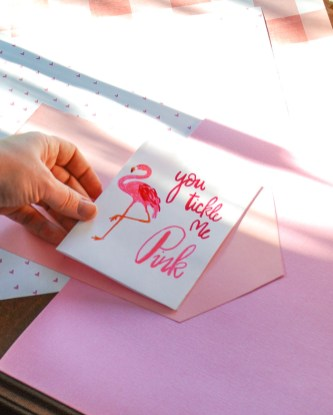 You tickle me pink free printable flamingo Valentine card and DIY envelope tutorial with coloring card option.