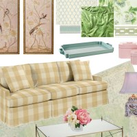 A Gingham and Chintz Romance in the Living Room