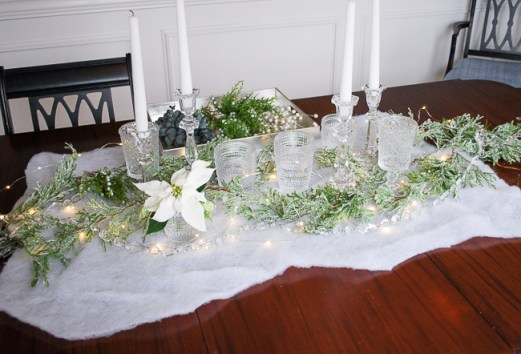 Winter tablescape tutorial - placing vases and candles