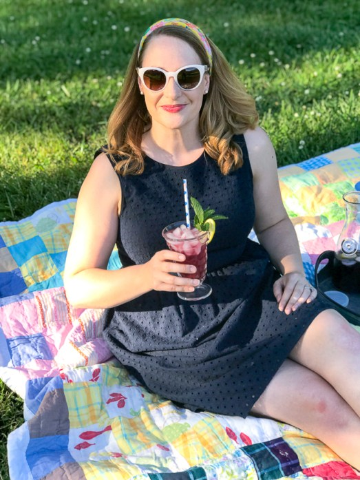 Katherine of Pender & Peony enjoys a blueberry lemon mint fizz on a picnic.