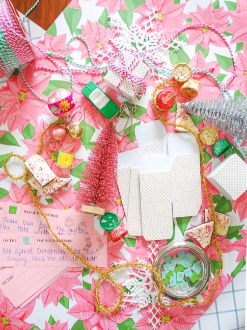 Materials to make DIY advent calendar present ornaments