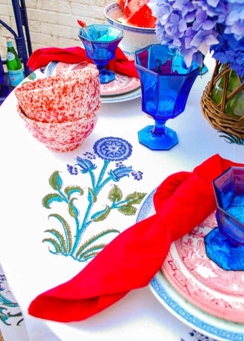 Indian block print table cloth detail