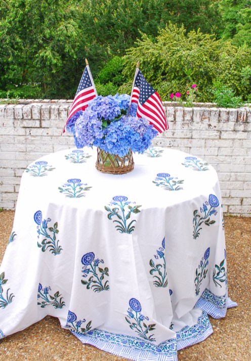Patriotic tablescape with Indian block print cloth and blue hydrangeas