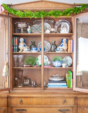 China cabinet shelves before wallpaper backing
