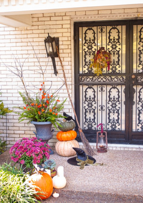 Witchy front door for autumn and Halloween