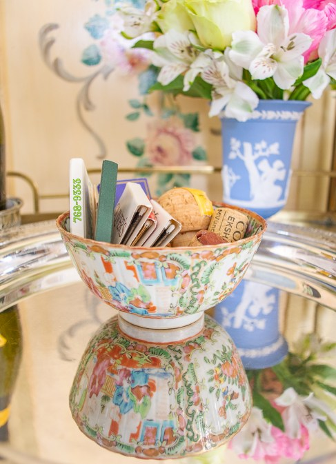 Small Rose Medallion bowl works beautifully as a catchall for matches and corks on this bar cart