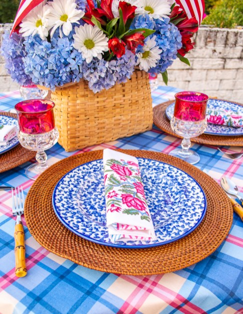 Floral Indian block print napkins add to the pattern play on this July 4th table