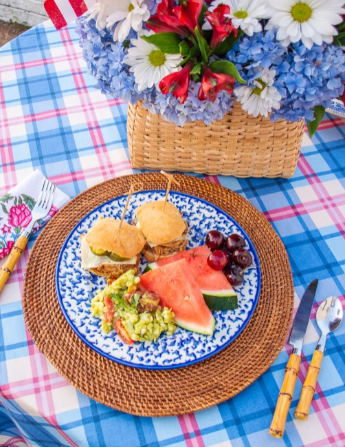 BBQ chicken sliders with corn and avocado salad and a side of watermelon is the perfect easy meal for July 4th celebrations