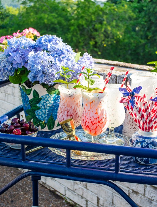 Fourth of July bar cart inspiration and cocktail with spiked cherry lemonade