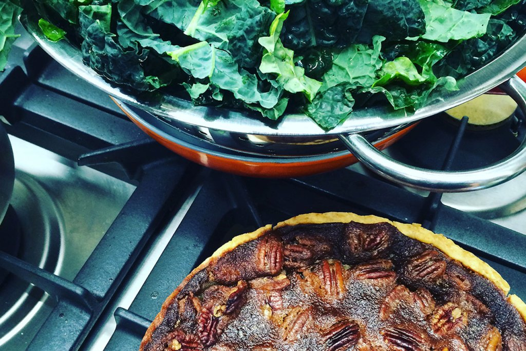 Pendergast Smokehouse greens and pecan pie