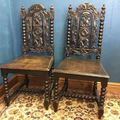 Pair of Carved Oak Hall Chairs with Bobbin Turned Legs 1 of 4
