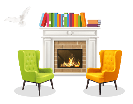 Image of two chairs in front of open fire