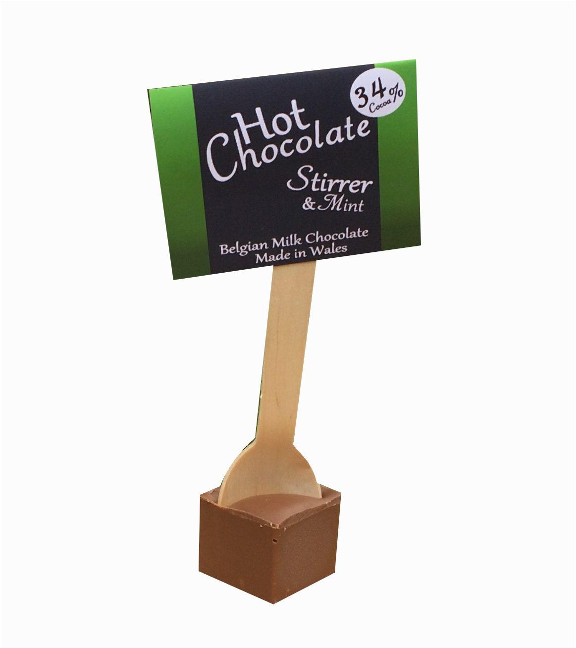 mint chocolate, hot chocolate, retail hot chocolate, hot chocolate spoon