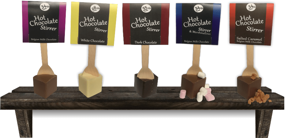 hot chocolate stirrers made from milk, dark and white chocolate