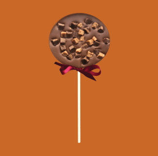 milk chocolate lolly with chocolate and caramel fudge pieces