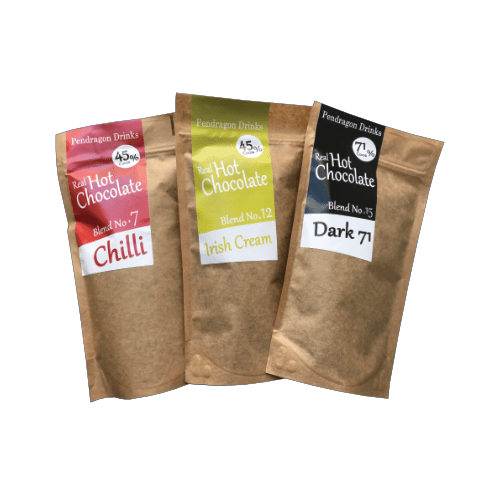 three sample bags of hot chocolate flakes