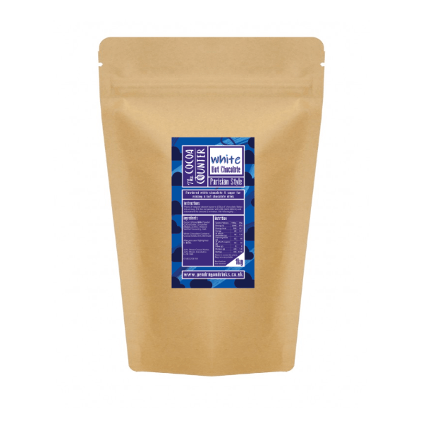 catering bag of white hot chocolate flakes