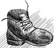 pen ink drawing old shoe