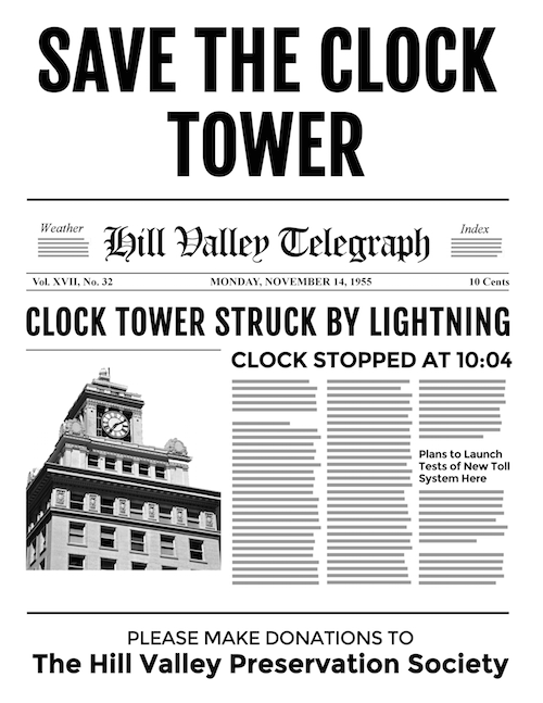 back to the future clock tower printable
