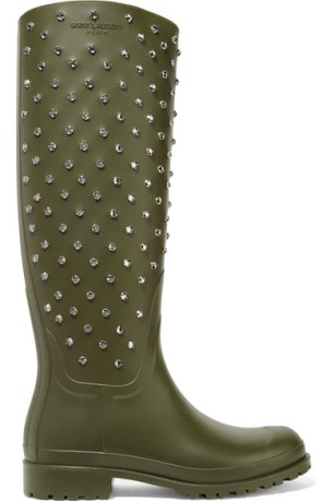 Saint Laurent - Festival Crystal Embellished Rubber Rain Boots $1,459
