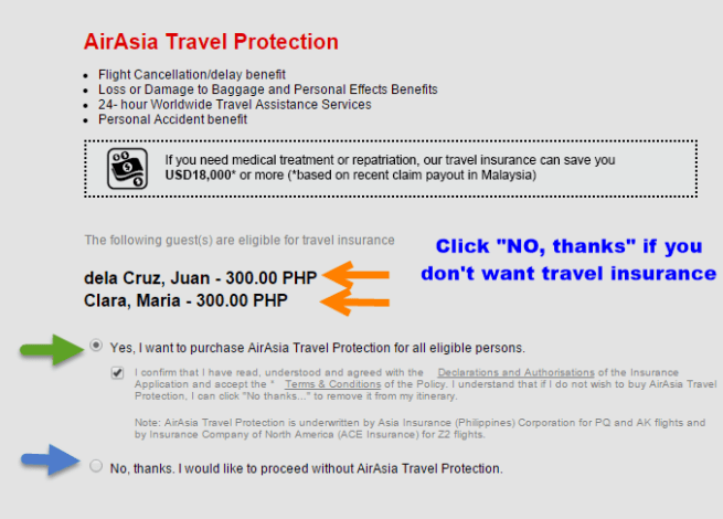 delete travel insurance air asia