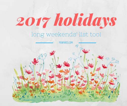 2017 holidays