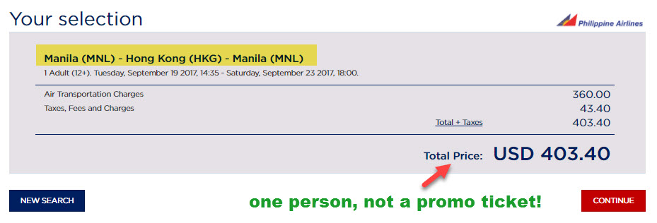 philippine airlines regular ticket price