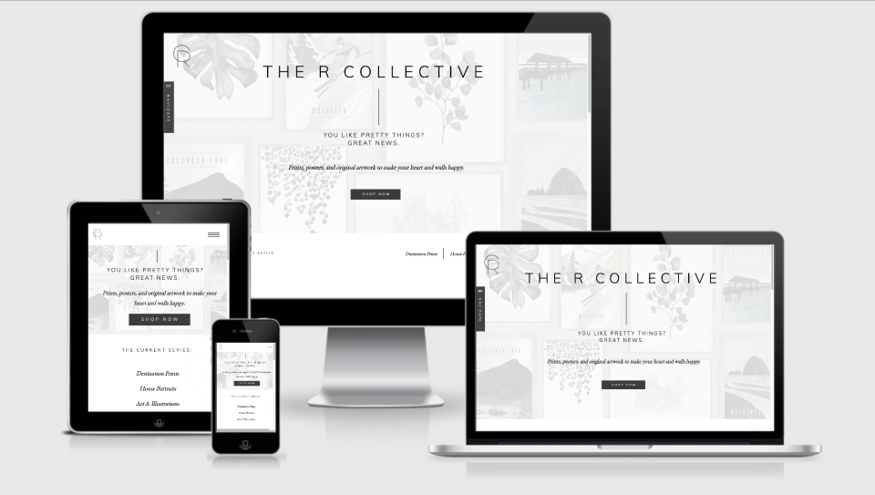 Preview of Shop landing page in Showit designed by Penguin Designing