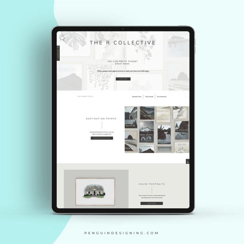 A custom art and illustration Showit website shop design.