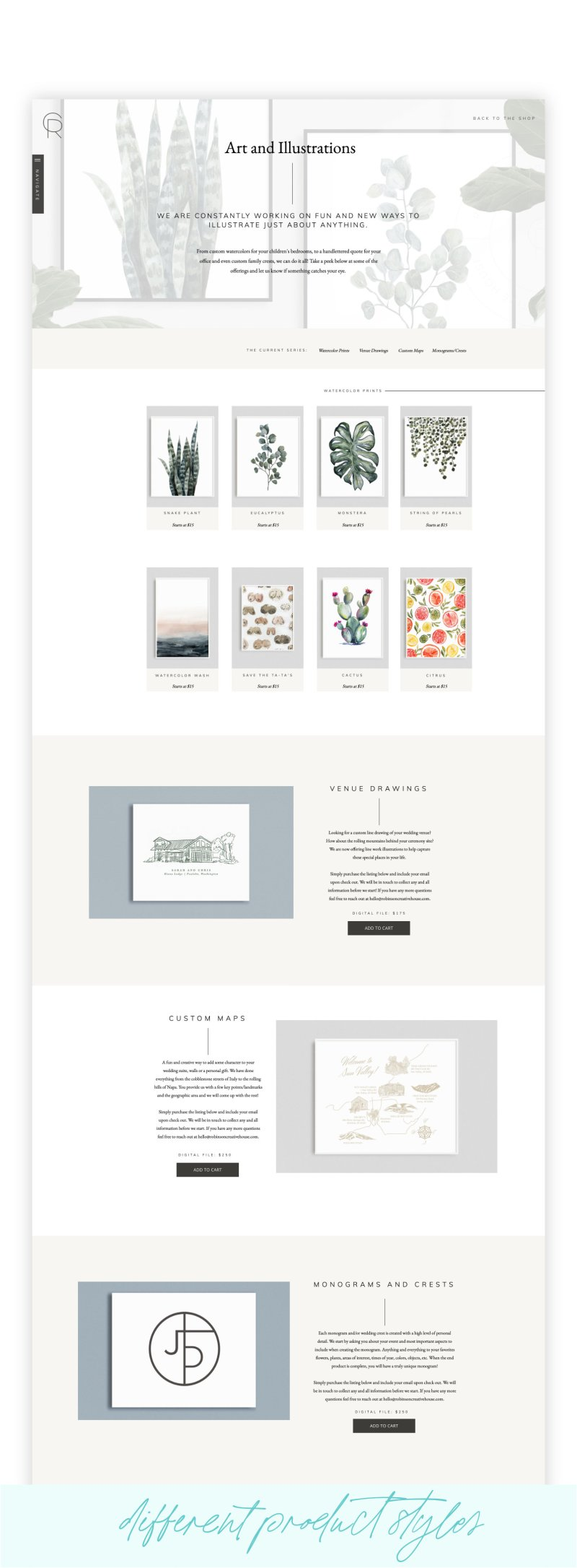 Arts and illustrations shop design in the Showit platform with multiple product styles.