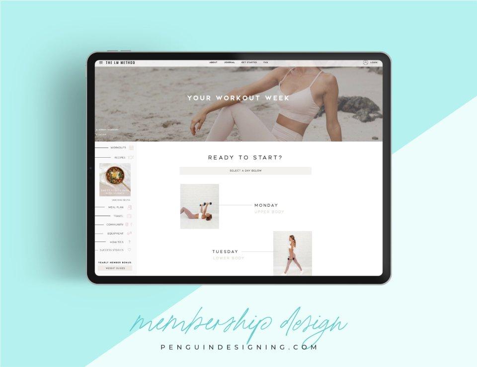 iPad view of new wellness membership site