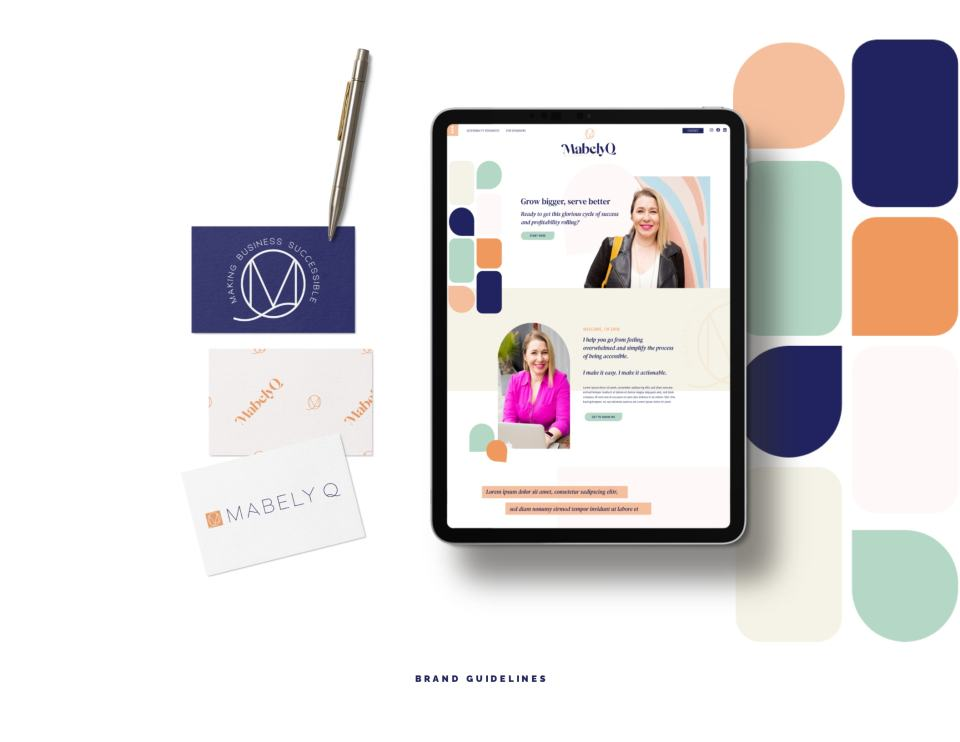 example of branding created by Penguin Designing for Mabely Q showing an ipad with a branded website and branded business cards next to it.