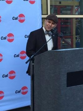 Caltrain Board Member Joel Ramos speaks at the San Francisco Caltrain Station.