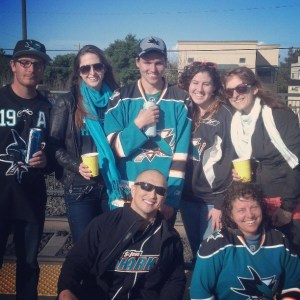 "Sharks fans en route to ""The Tank"" at the San Carlos Caltrain Station."