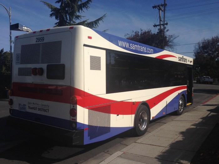 The shorter 29-foot 2900 Series SamTrans bus.