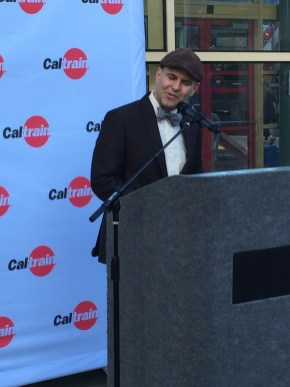 Caltrain Board Member Joel Ramos speaks at the San Francisco Caltrain Station.