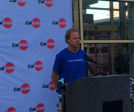 Wes Brinsfield, Caltrain BAC Chair, speaks at San Francisco Station.
