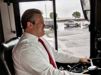 Charles Stone behind the wheel at the SamTrans Rodeo.