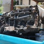 Así era transportado el vehículo robado y desmantelado.